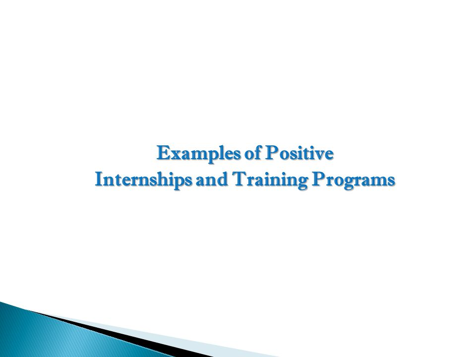 Internships and Training Programs