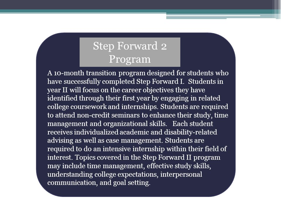 Step Forward 2 Program