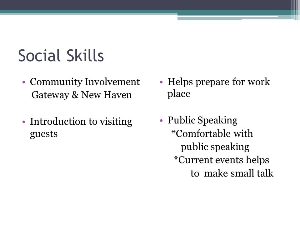 Social Skills Community Involvement Gateway & New Haven