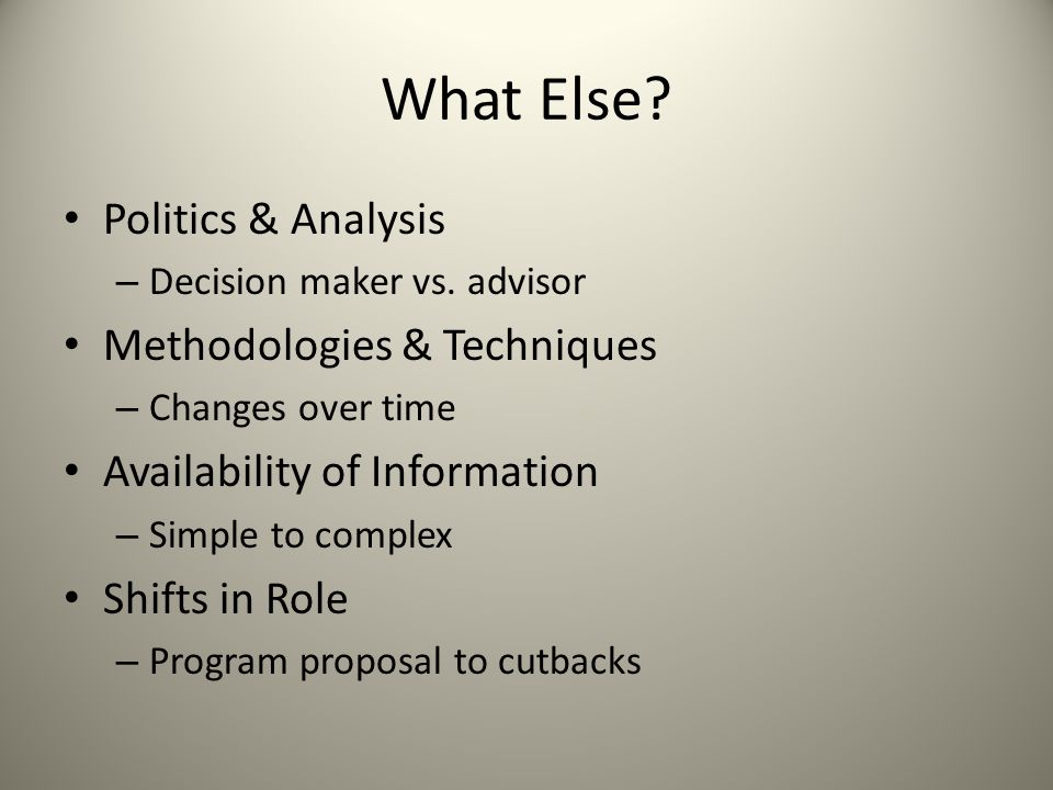 What Else Politics & Analysis Methodologies & Techniques