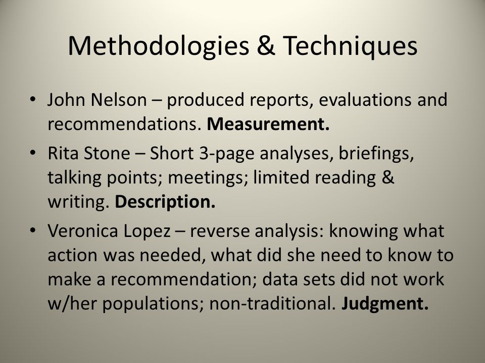 Methodologies & Techniques