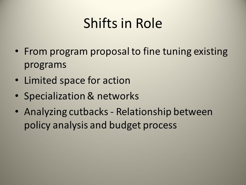 Shifts in Role From program proposal to fine tuning existing programs