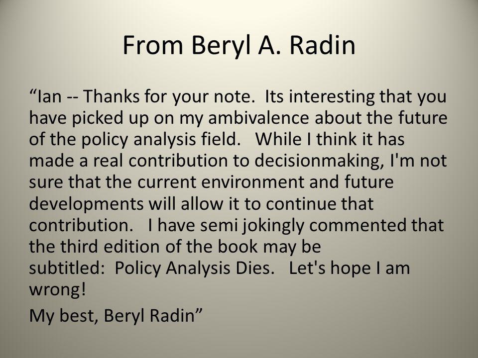 From Beryl A. Radin