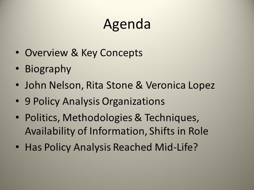 Agenda Overview & Key Concepts Biography