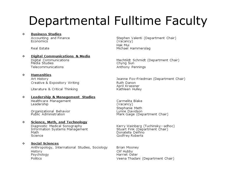 Departmental Fulltime Faculty