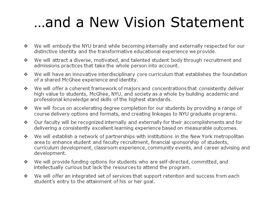 …and a New Vision Statement