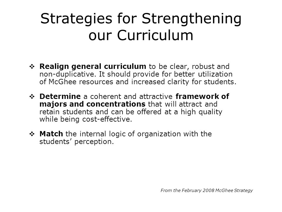 Strategies for Strengthening our Curriculum