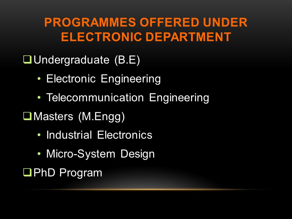 ProgramMEs offered under electronic department