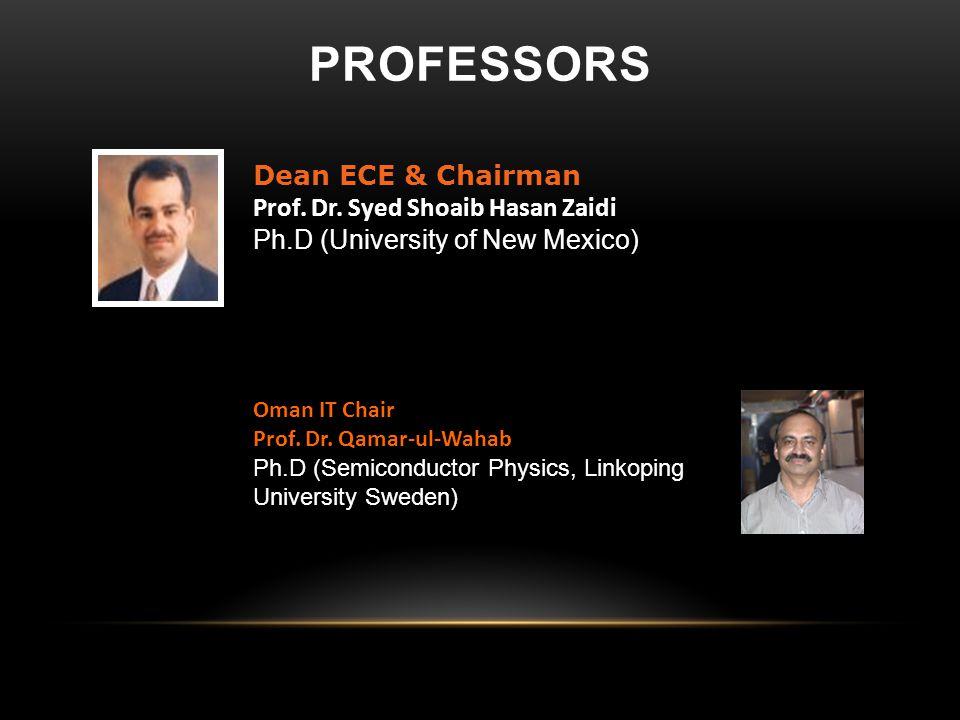 professors Dean ECE & Chairman Prof. Dr. Syed Shoaib Hasan Zaidi