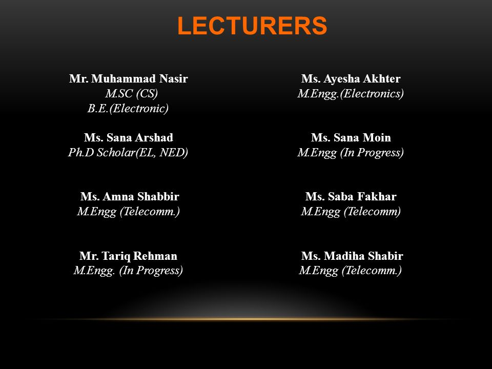 LECTURERS Mr. Muhammad Nasir Ms. Ayesha Akhter M.SC (CS)