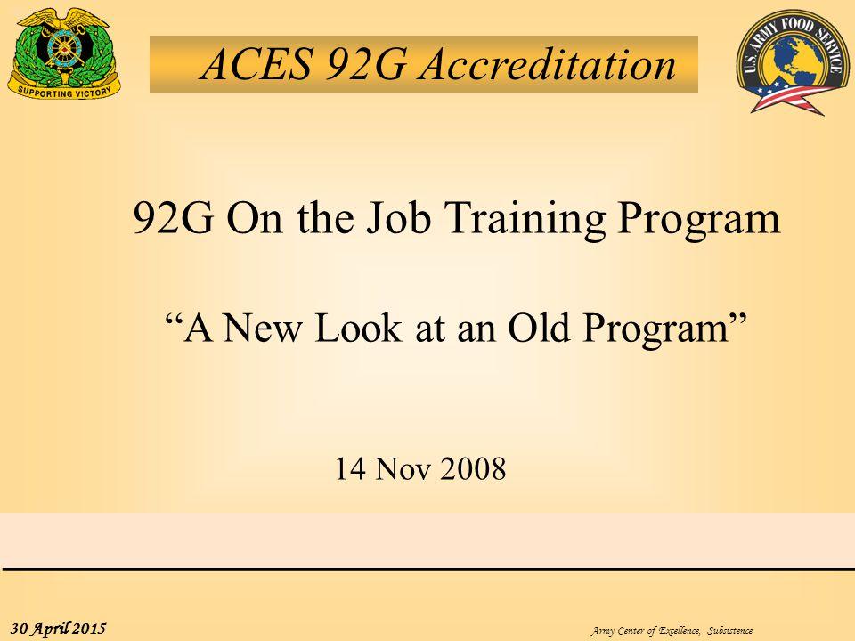 92G On the Job Training Program