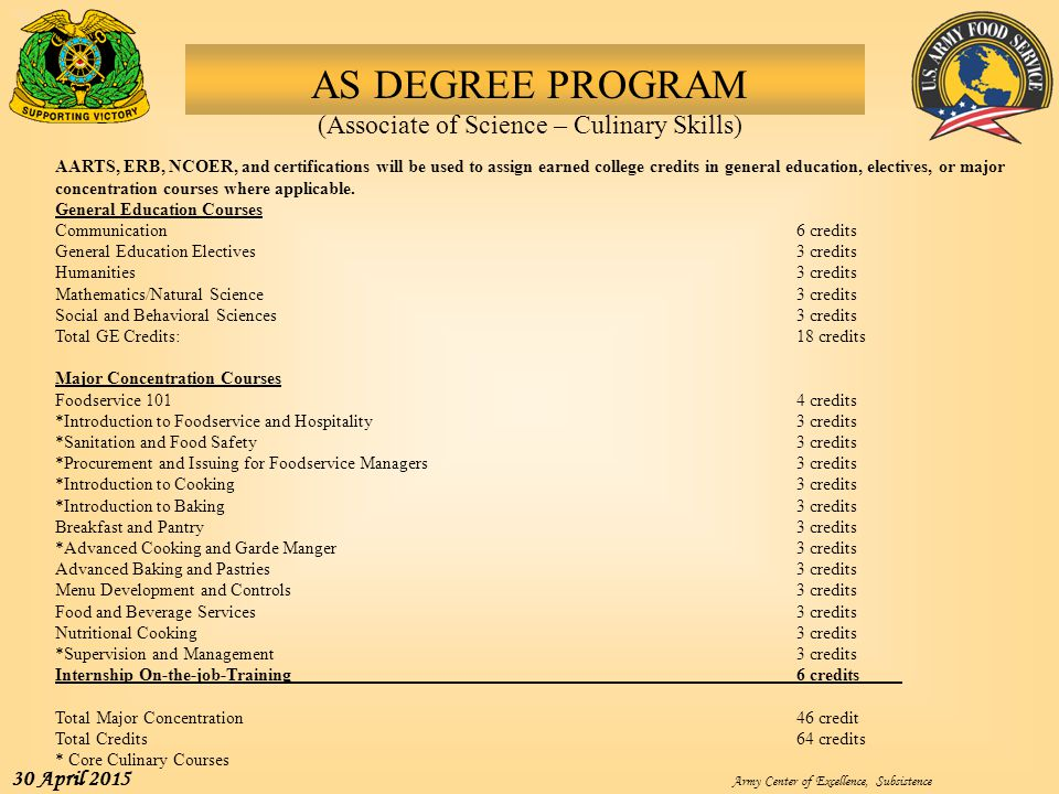 AS DEGREE PROGRAM (Associate of Science – Culinary Skills)