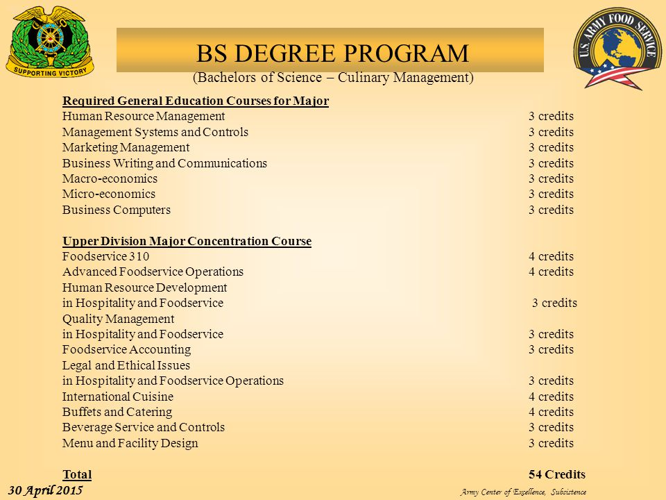 BS DEGREE PROGRAM (Bachelors of Science – Culinary Management)