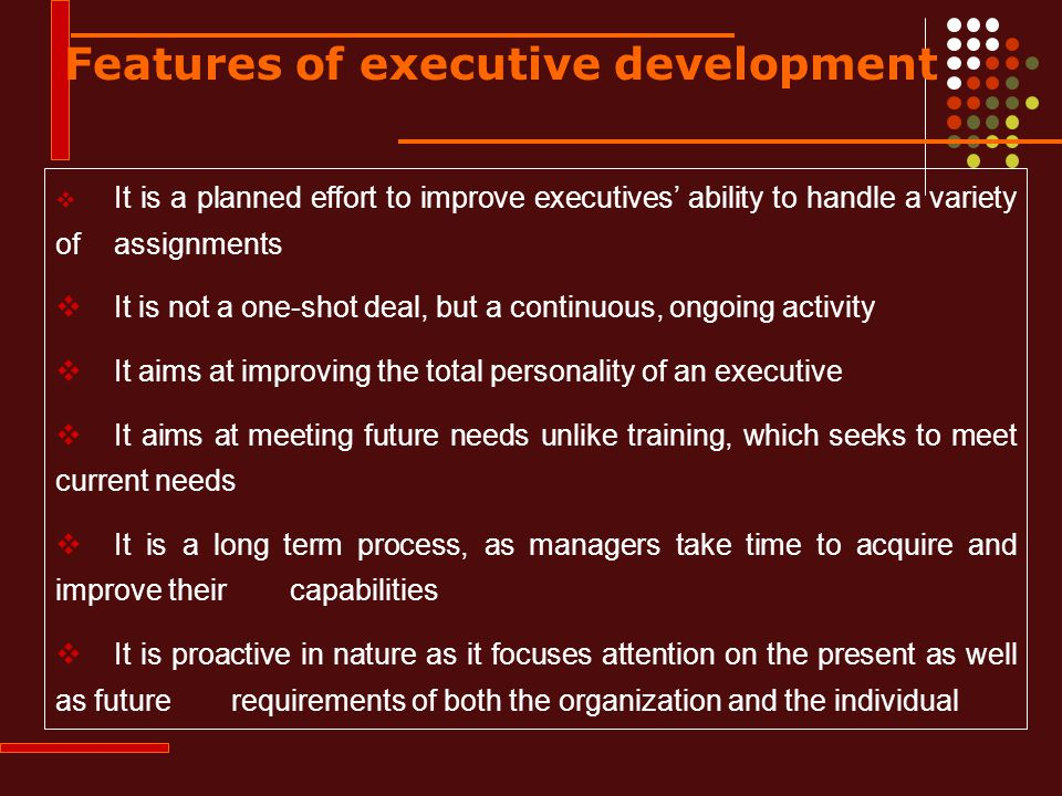 Features of executive development