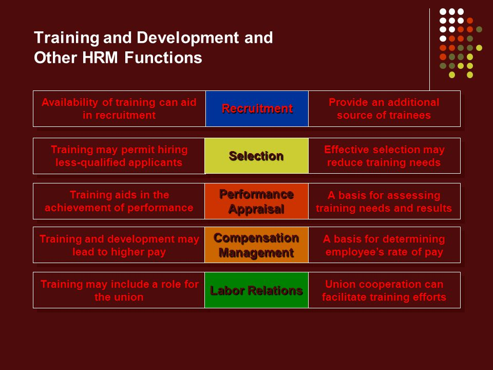 Training and Development and Other HRM Functions