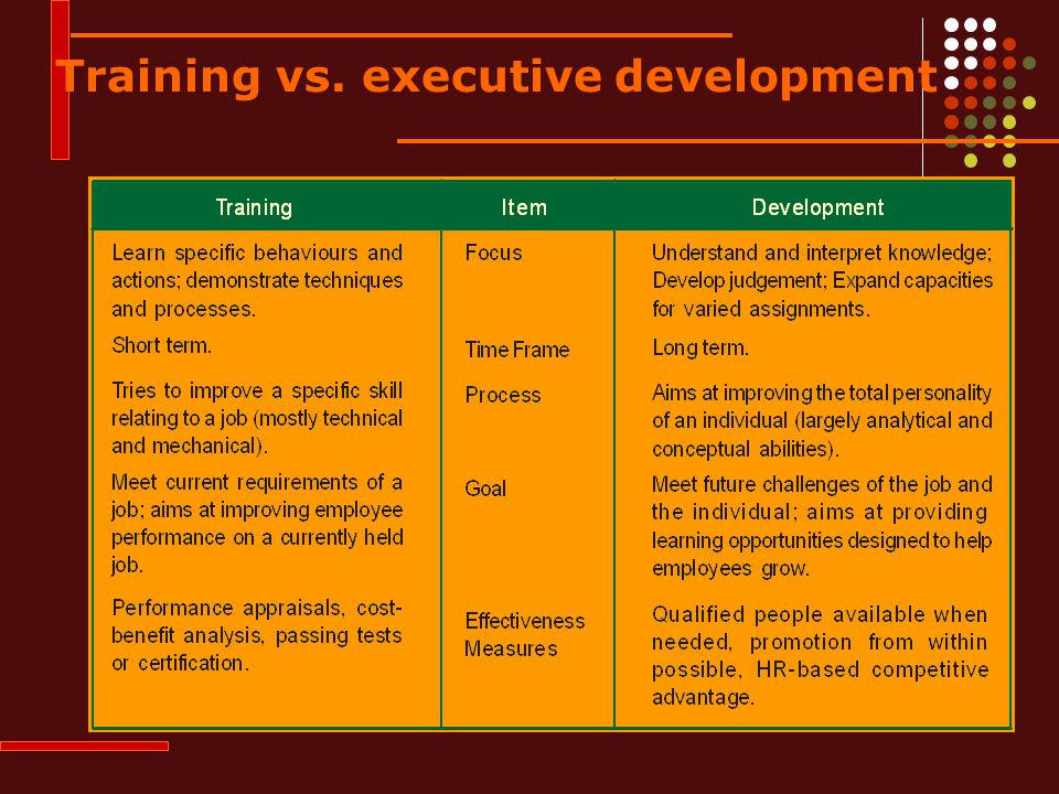 Training vs. executive development
