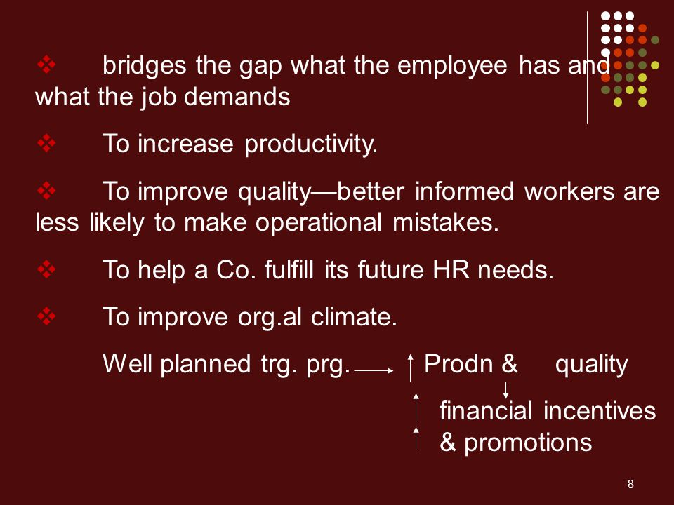 bridges the gap what the employee has and what the job demands