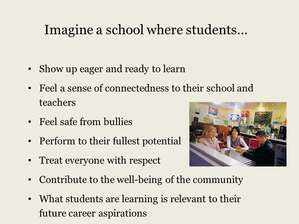Imagine a school where students…