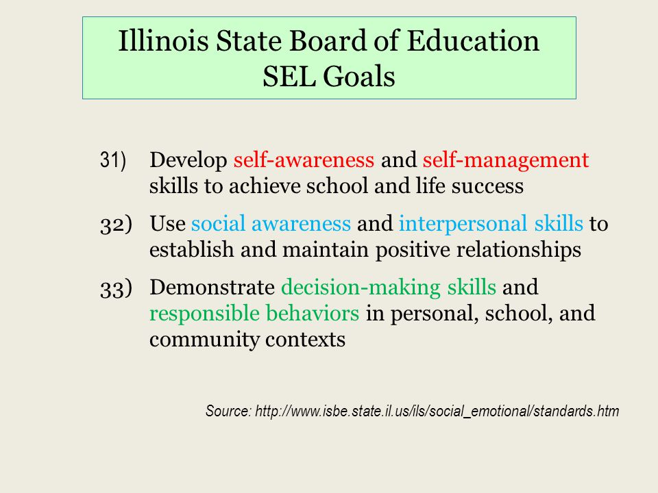 Illinois State Board of Education SEL Goals