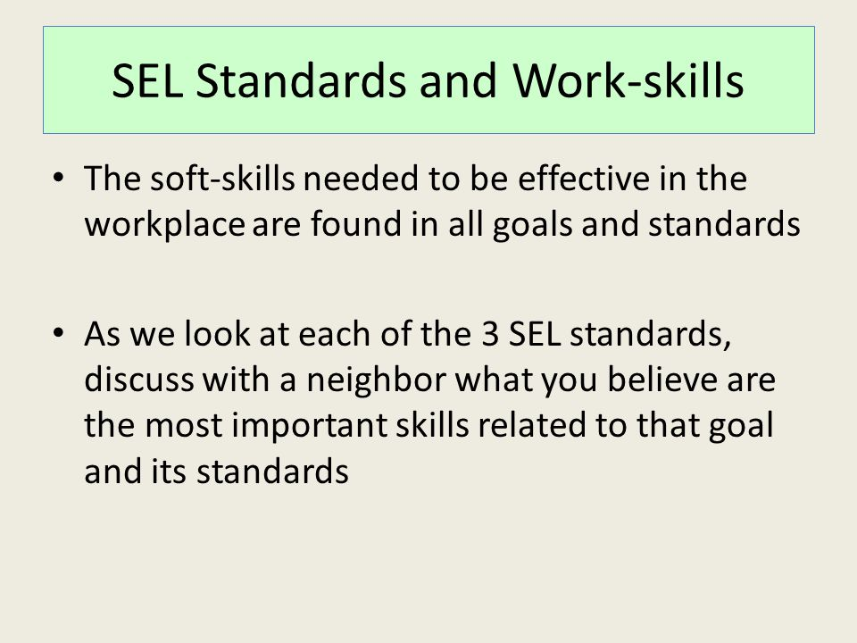 SEL Standards and Work-skills