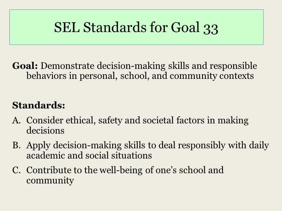 SEL Standards for Goal 33