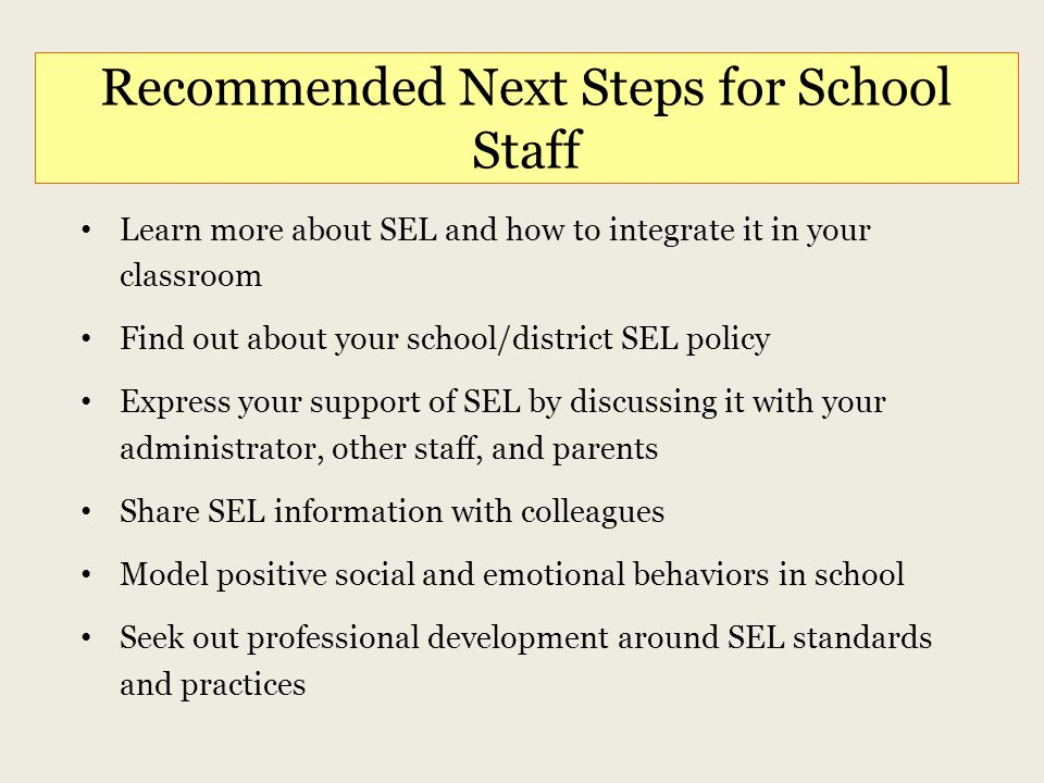 Recommended Next Steps for School Staff