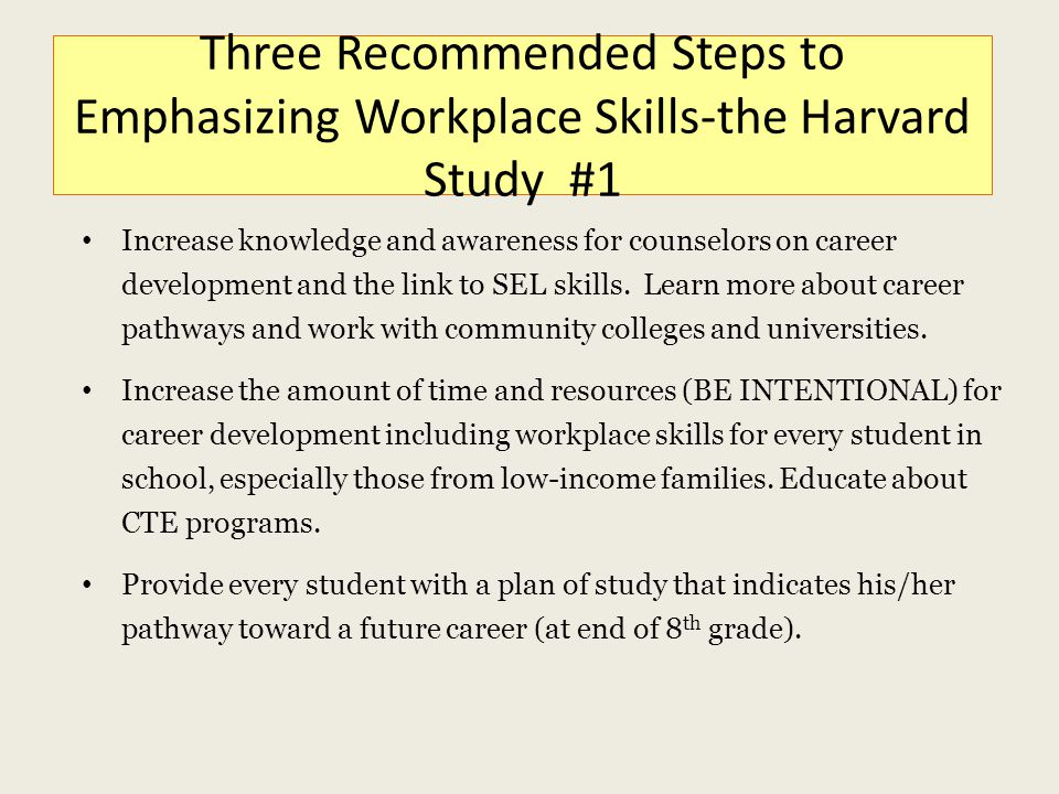 Three Recommended Steps to Emphasizing Workplace Skills-the Harvard Study #1