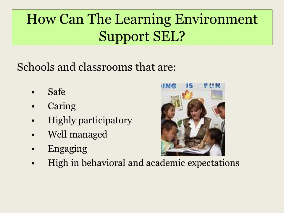 How Can The Learning Environment Support SEL