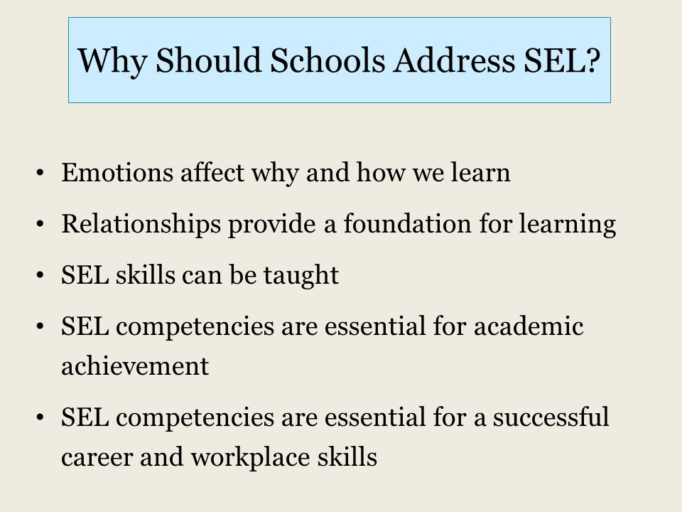Why Should Schools Address SEL