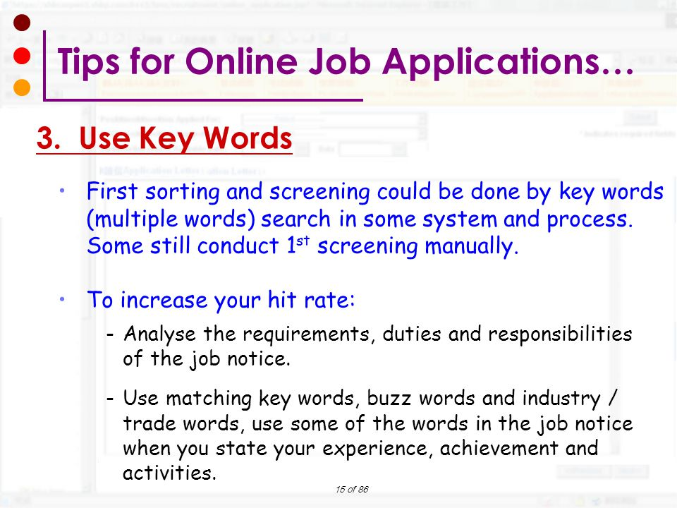 Tips for Online Job Applications…