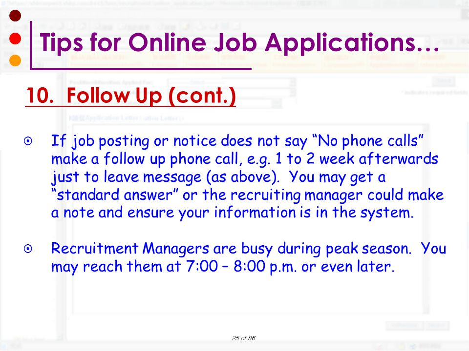 how to follow up online job application