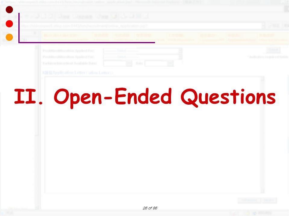 II. Open-Ended Questions
