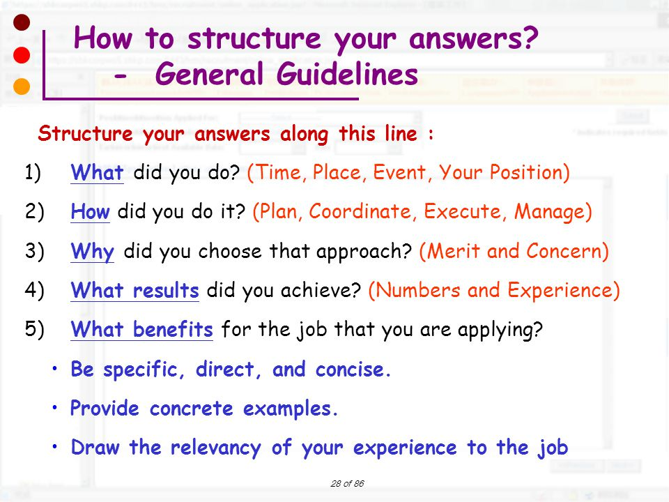 How to structure your answers - General Guidelines