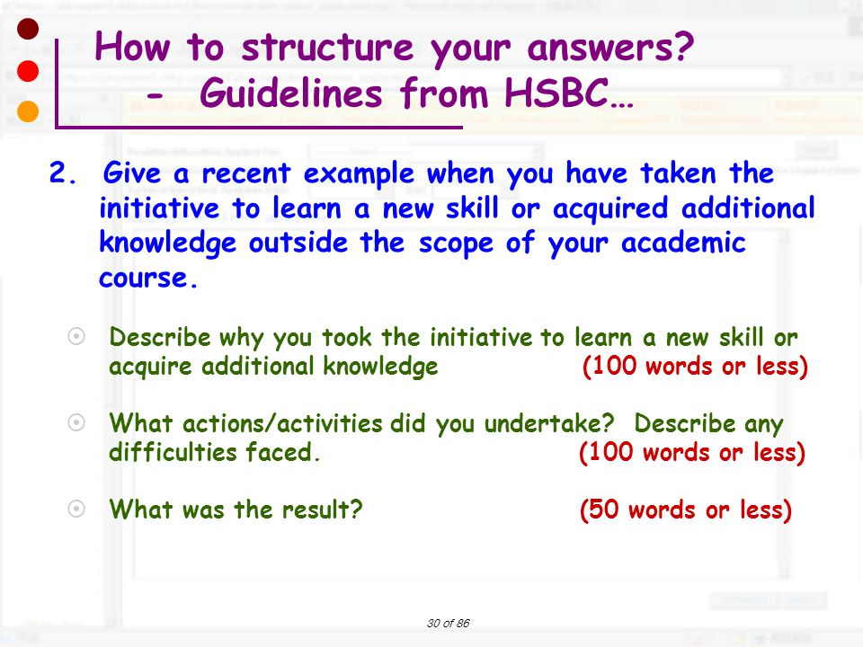 How to structure your answers - Guidelines from HSBC…