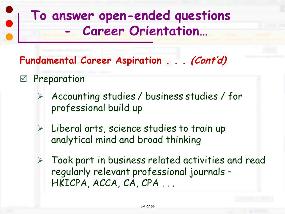 To answer open-ended questions - Career Orientation…