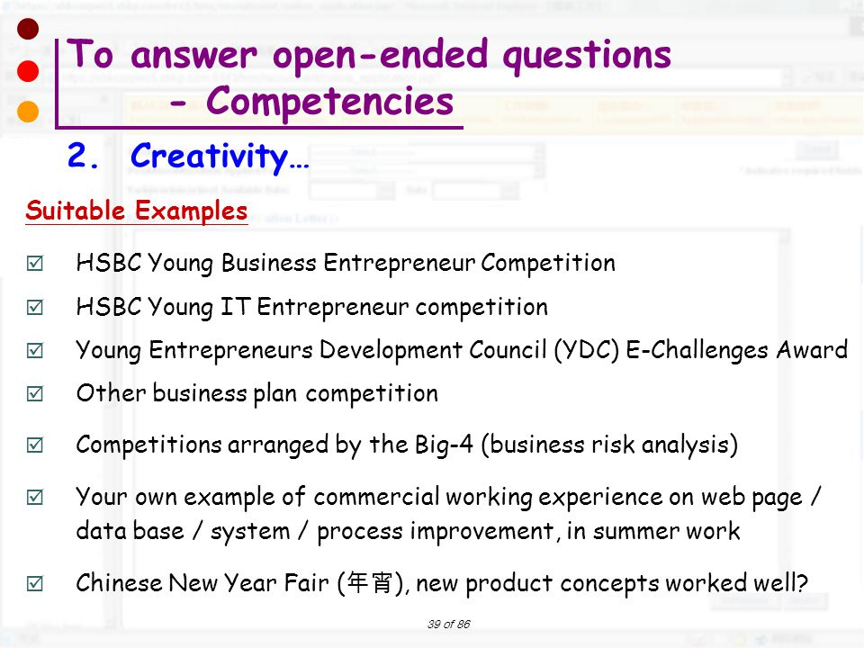 To answer open-ended questions - Competencies 2. Creativity…