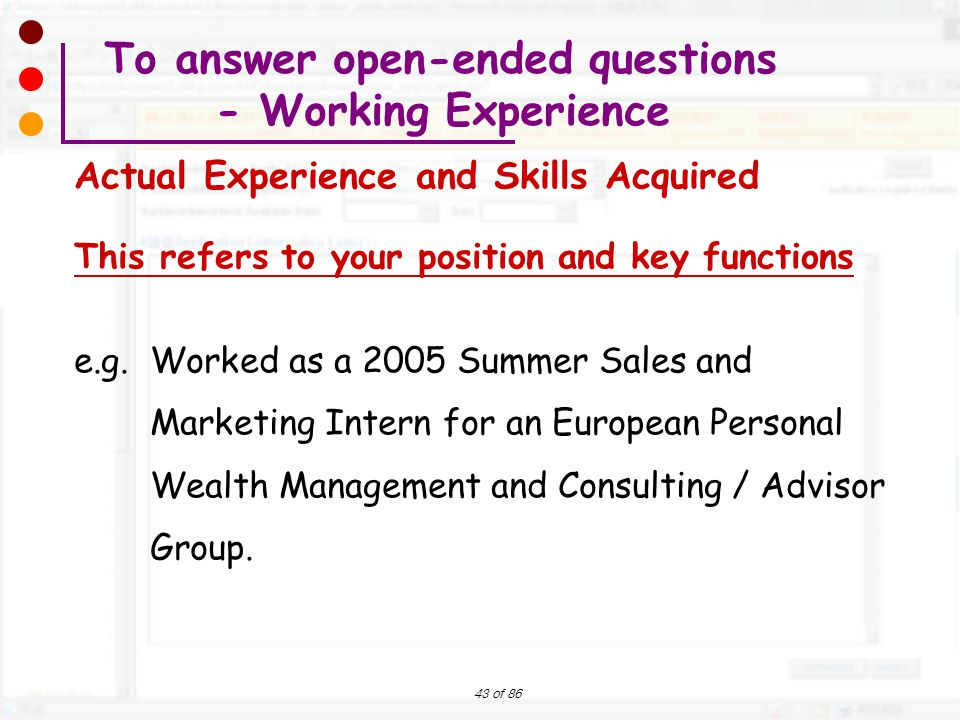 To answer open-ended questions - Working Experience