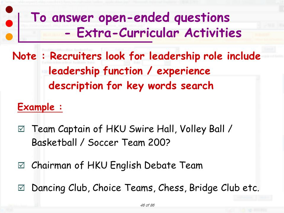 To answer open-ended questions - Extra-Curricular Activities