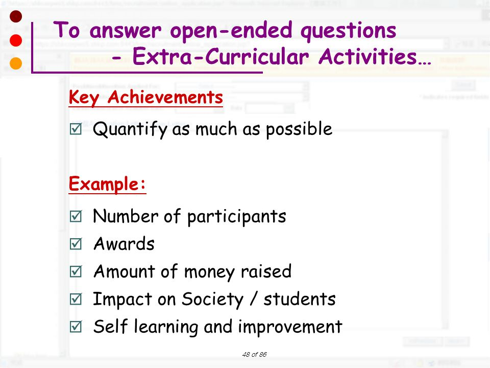 To answer open-ended questions - Extra-Curricular Activities…