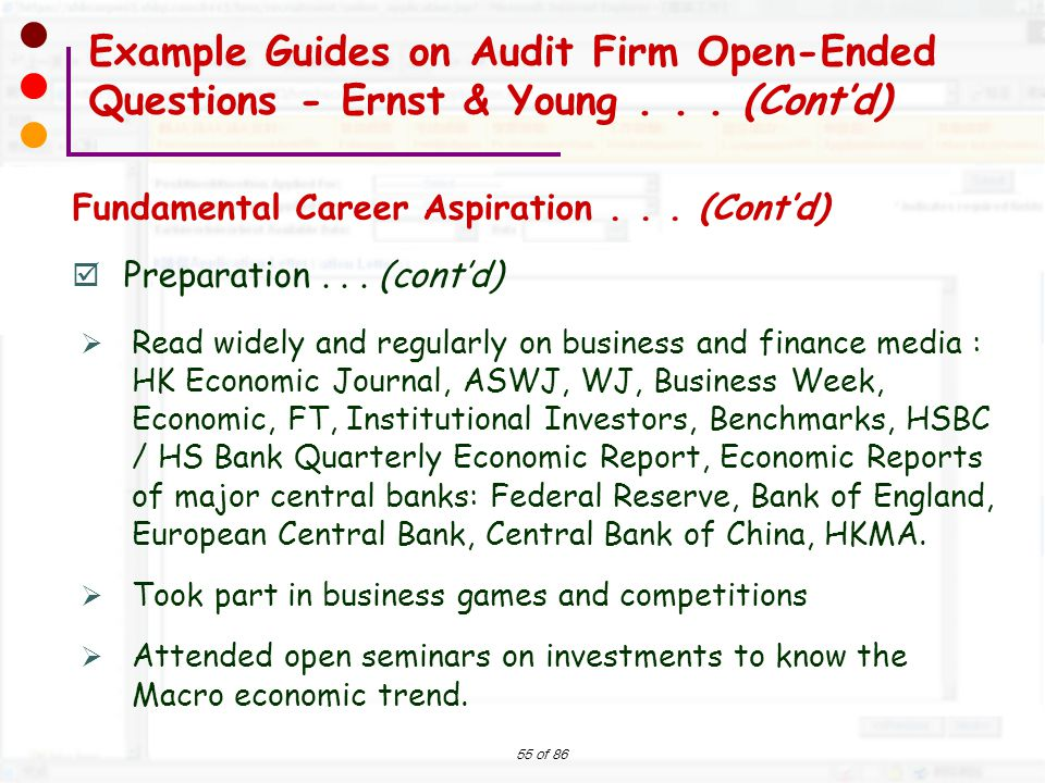 Example Guides on Audit Firm Open-Ended Questions - Ernst & Young