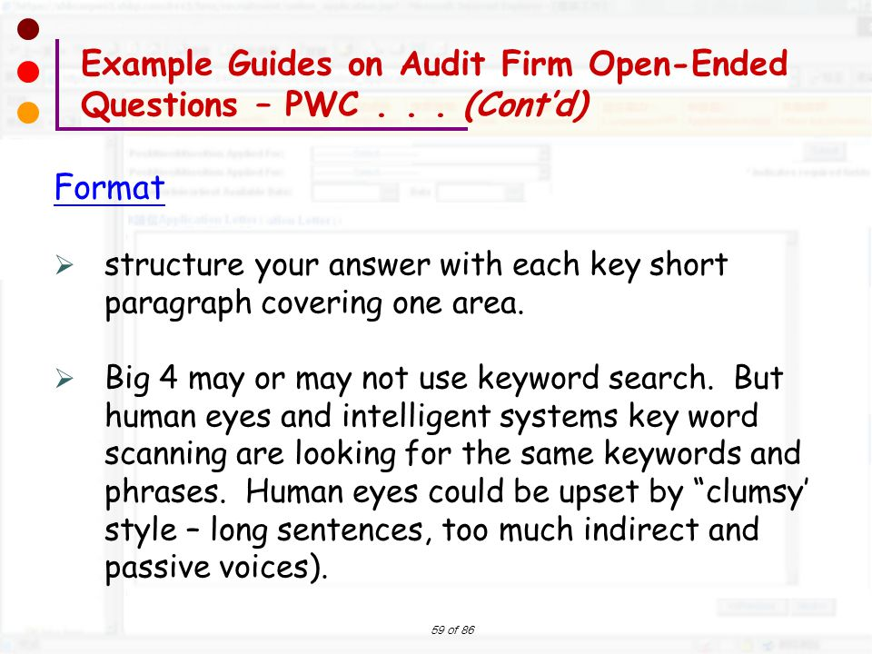 Example Guides on Audit Firm Open-Ended Questions – PWC . . . (Cont'd)