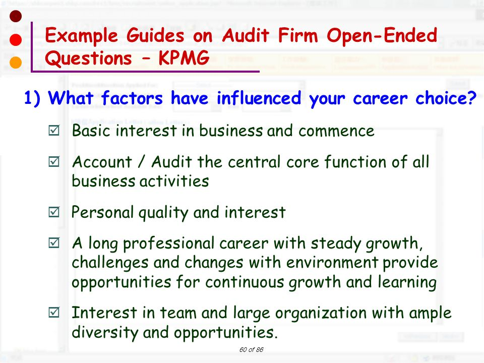 Example Guides on Audit Firm Open-Ended Questions – KPMG