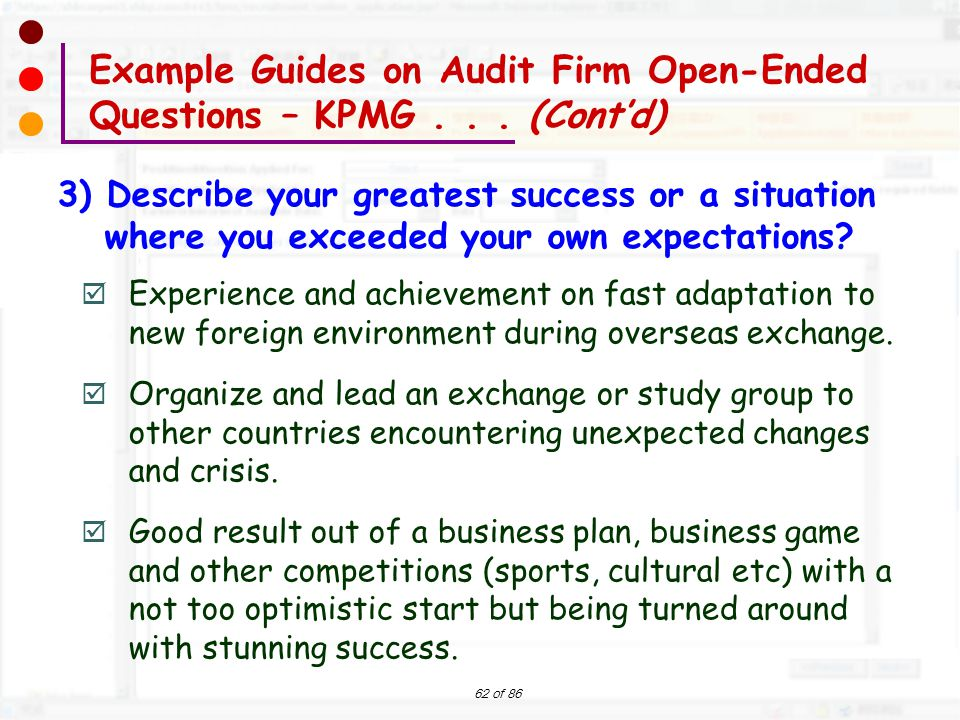 Example Guides on Audit Firm Open-Ended Questions – KPMG . . . (Cont'd)