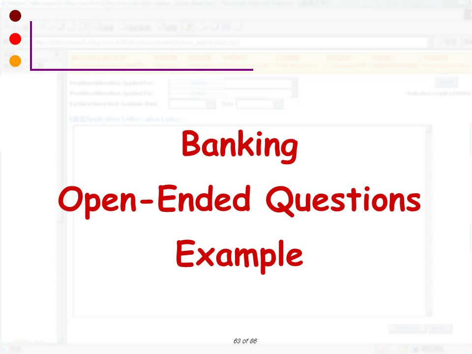 Banking Open-Ended Questions Example