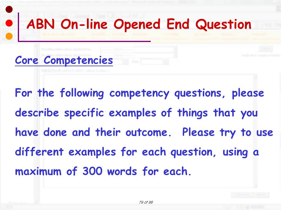 ABN On-line Opened End Question