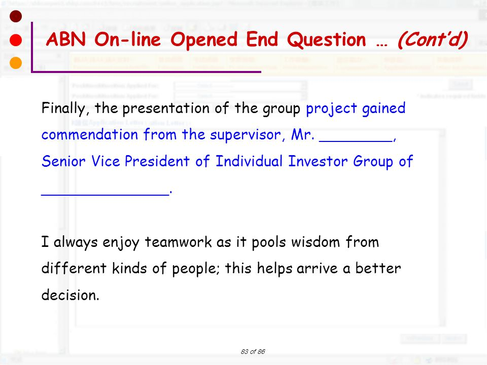ABN On-line Opened End Question … (Cont'd)