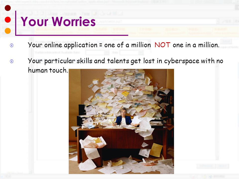 Your Worries Your online application = one of a million NOT one in a million.