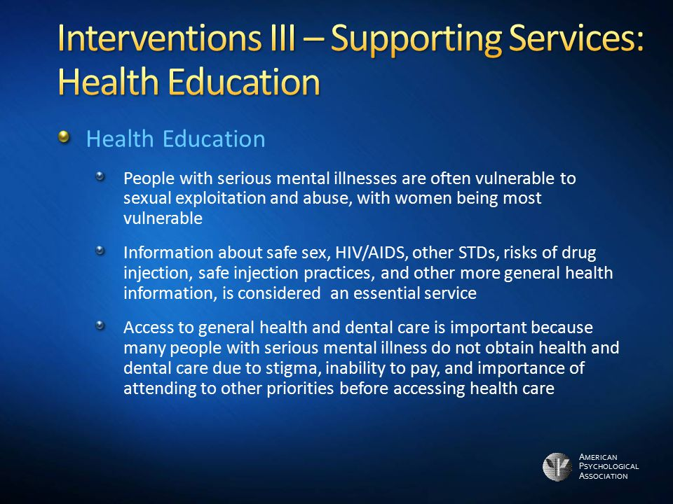 Interventions III – Supporting Services: Health Education