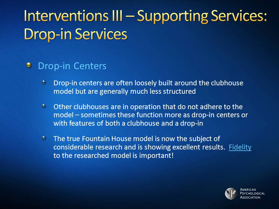 Interventions III – Supporting Services: Drop-in Services