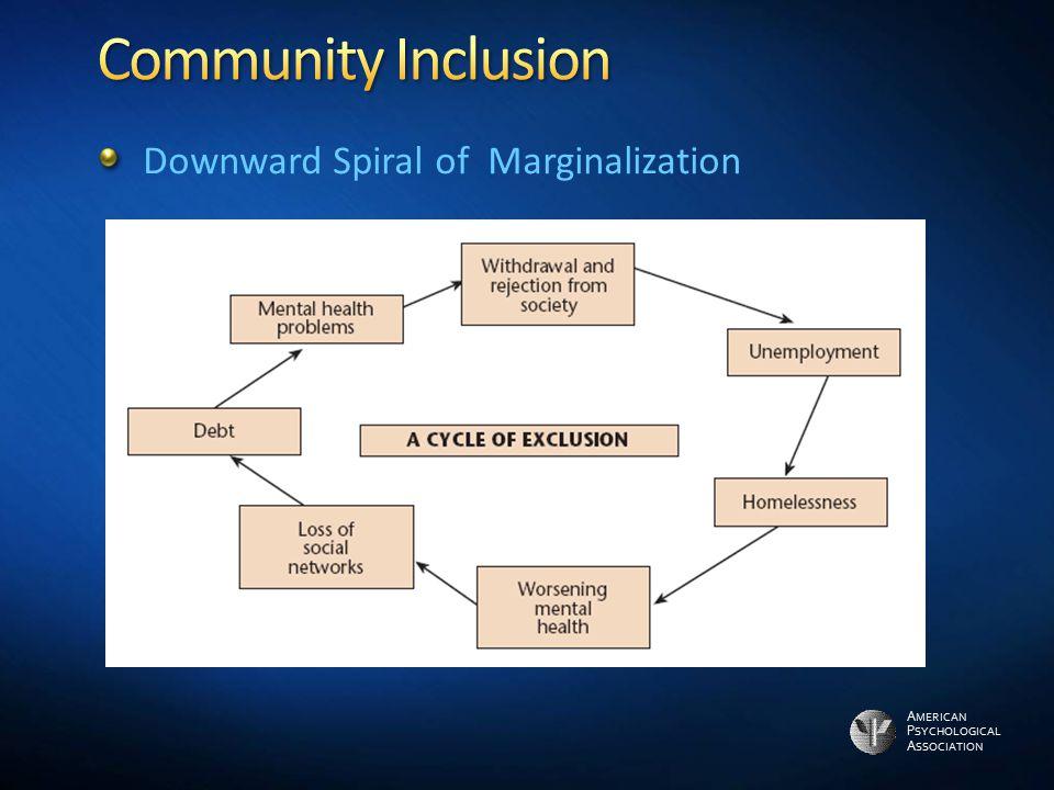 Community Inclusion Downward Spiral of Marginalization